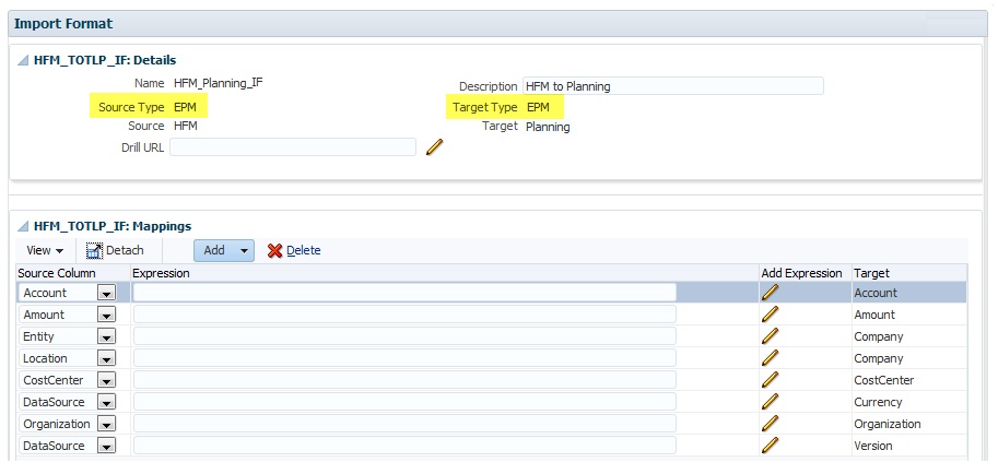 FDMEE Data Sync: Import Format