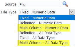 FDMEE File Type Format Options